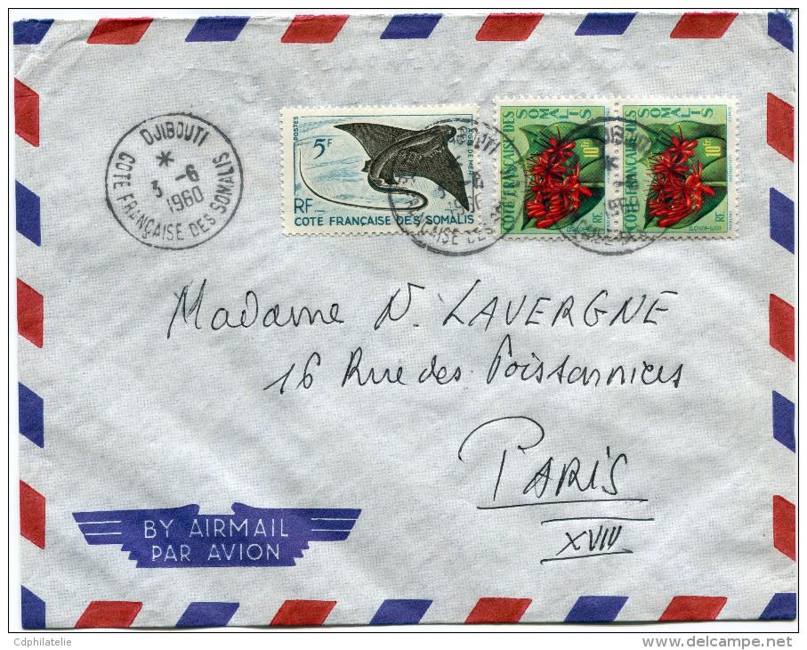 COTE FRANCAISE DES SOMALIS LETTRE PAR AVION DEPART DJIBOUTI 3-6-1960 POUR LA FRANCE - Cartas
