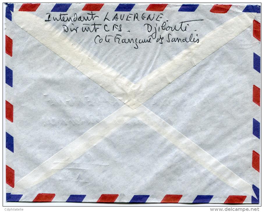 COTE FRANCAISE DES SOMALIS LETTRE PAR AVION DEPART DJIBOUTI 3-6-1960 POUR LA FRANCE - Costa Francesa De Somalia (1894-1967)