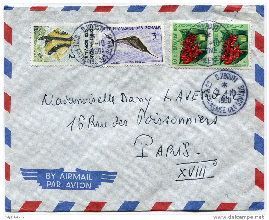 COTE FRANCAISE DES SOMALIS LETTRE PAR AVION DEPART DJIBOUTI 7-10-1960 POUR LA FRANCE - Lettres & Documents