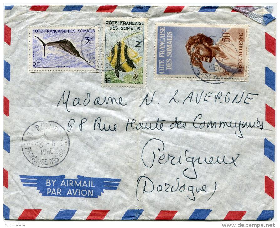 COTE FRANCAISE DES SOMALIS LETTRE PAR AVION DEPART DJIBOUTI 23-8-1960 POUR LA FRANCE - Côte Française Des Somalis (1894-1967)