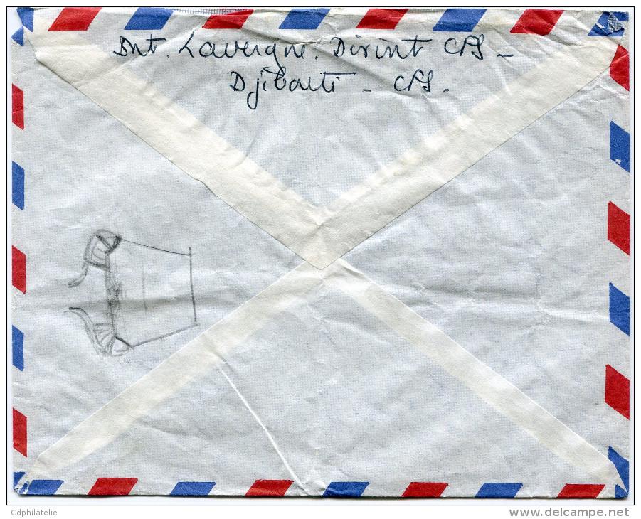 COTE FRANCAISE DES SOMALIS LETTRE PAR AVION DEPART DJIBOUTI 23-8-1960 POUR LA FRANCE - Lettres & Documents