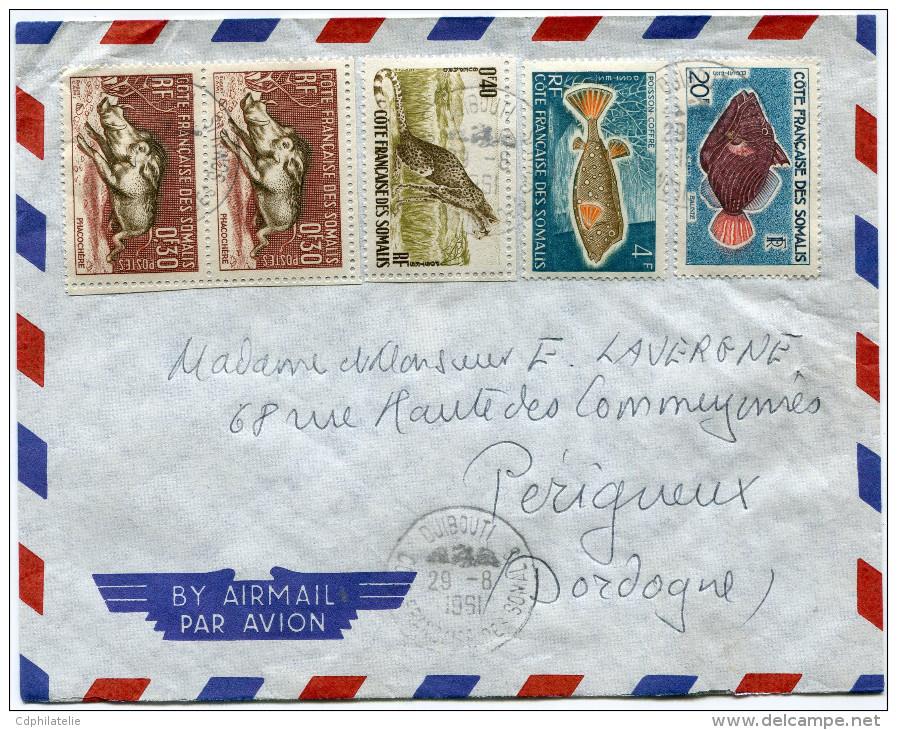 COTE FRANCAISE DES SOMALIS LETTRE PAR AVION DEPART DJIBOUTI 29-8-1961 POUR LA FRANCE - Côte Française Des Somalis (1894-1967)