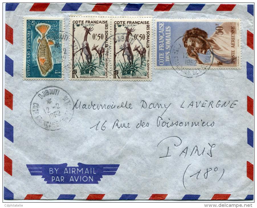 COTE FRANCAISE DES SOMALIS LETTRE PAR AVION DEPART DJIBOUTI 12-2-1962 POUR LA FRANCE - Côte Française Des Somalis (1894-1967)
