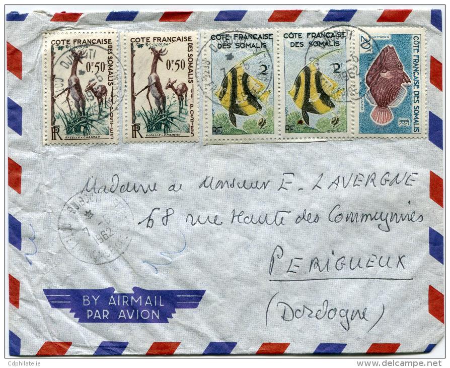 COTE FRANCAISE DES SOMALIS LETTRE PAR AVION DEPART DJIBOUTI 7-5-1962 POUR LA FRANCE - Côte Française Des Somalis (1894-1967)