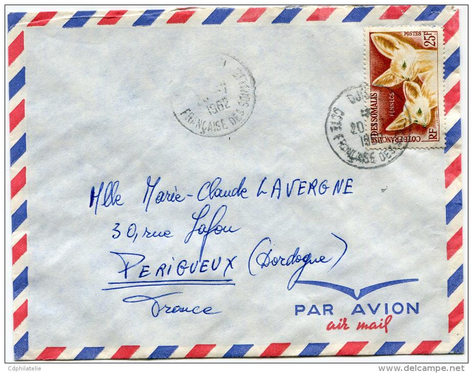 COTE FRANCAISE DES SOMALIS LETTRE PAR AVION DEPART DJIBOUTI 20-7-1962 POUR LA FRANCE - Côte Française Des Somalis (1894-1967)
