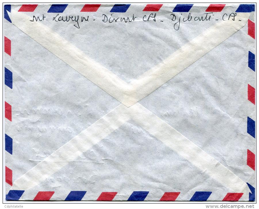 COTE FRANCAISE DES SOMALIS LETTRE PAR AVION DEPART DJIBOUTI 3-12-1962 POUR LA FRANCE - Lettres & Documents