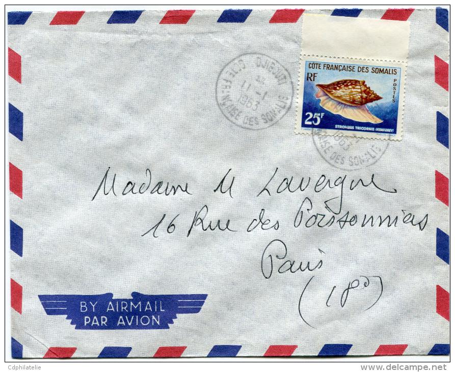 COTE FRANCAISE DES SOMALIS LETTRE PAR AVION DEPART DJIBOUTI 11-1-1963 POUR LA FRANCE - Côte Française Des Somalis (1894-1967)