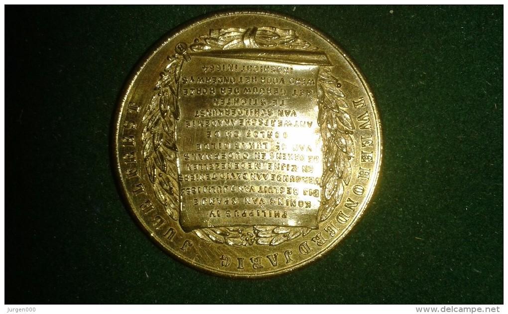 1864, Koninklijke Akademie Van Beeldende Kunsten Te Antwerpen, 200-jarig Jubileum, 16 Gram (med320) - Pièces écrasées (Elongated Coins)