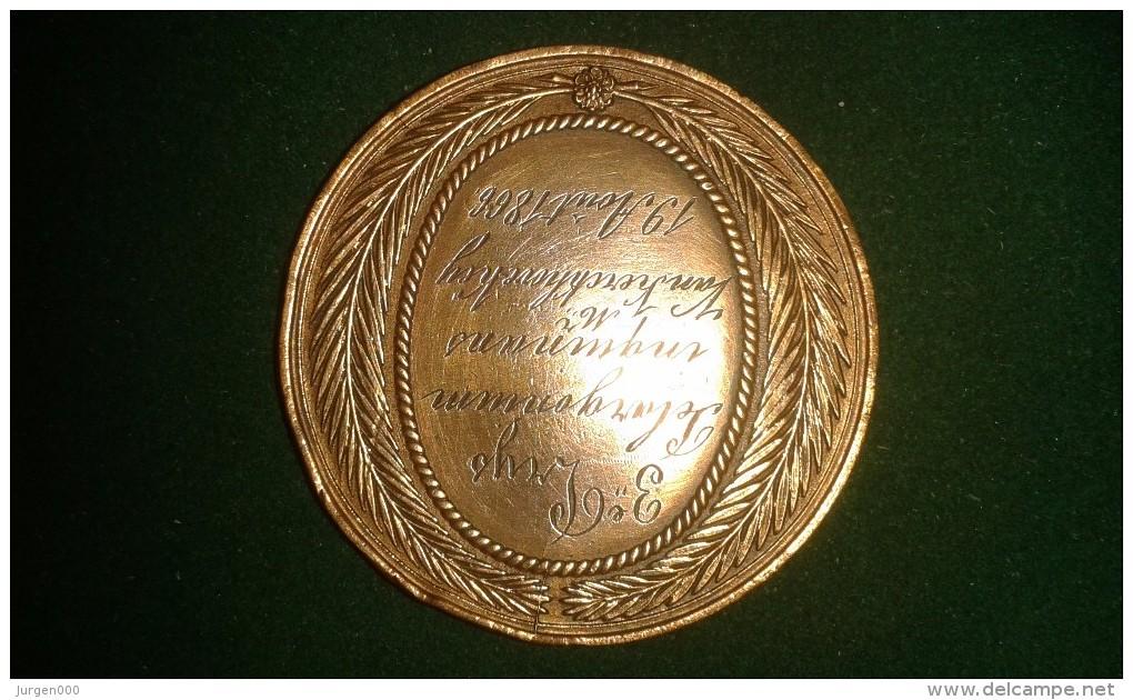 1866, Braemt, Soc. D'Horticulture D'Anvers, 3de Prijs Van Kerckhove-Key, 44 Gram (med324) - Pièces écrasées (Elongated Coins)