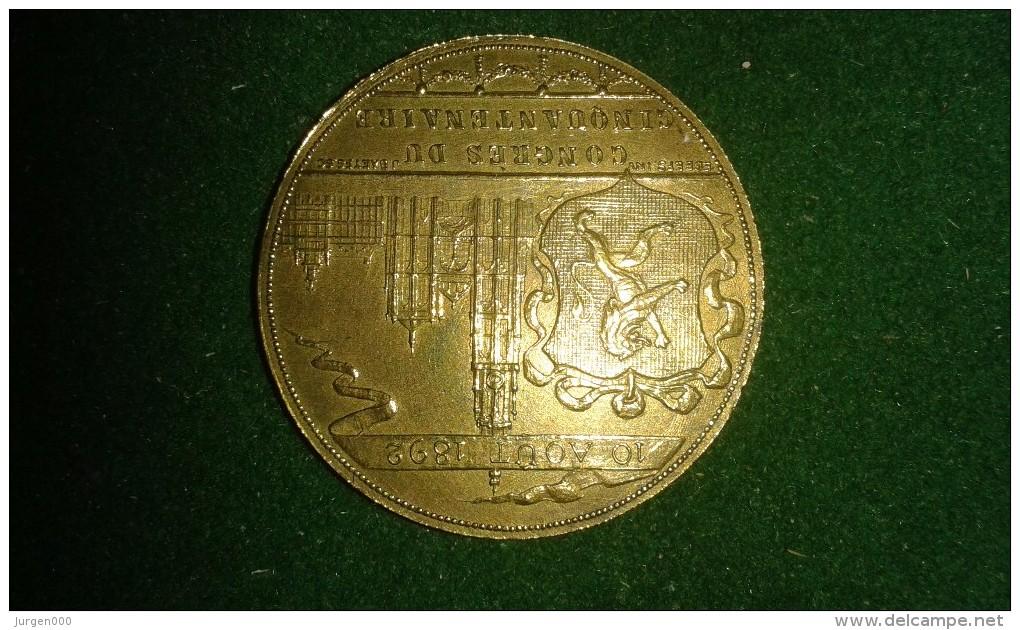 1892, Baetes, Congres Du Cinquantenaire D'Academie D'Archeologie, Anvers, 8 Gram (med325) - Pièces écrasées (Elongated Coins)