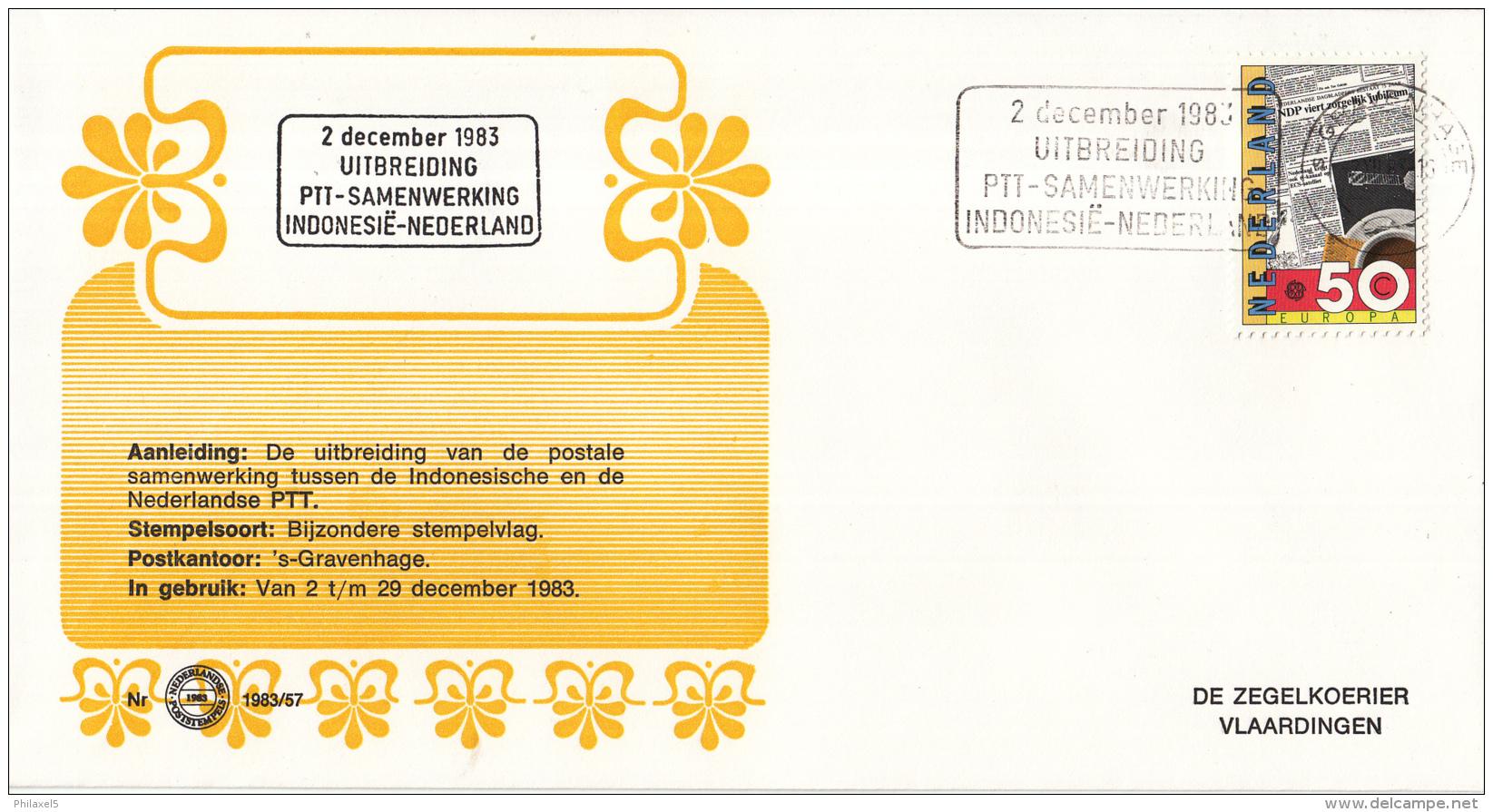 Nederland - Zegelkoerier Nederlandse Poststempels - 2 December 1983 PTT-samenwerking Indonesië-Nederland -  Nr. 1983/57 - Marcofilie - EMA (Print Machine)