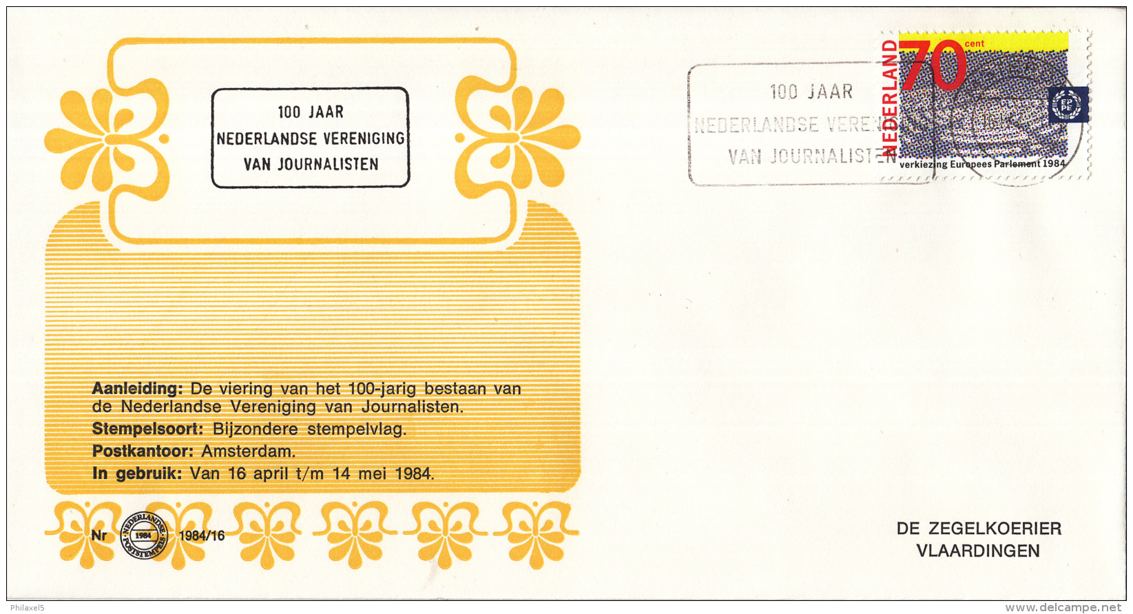 Nederland - Zegelkoerier Nederlandse Poststempels - 100 Jaar Nederlandse Vereniging Van Journalisten -  Nr. 1984/16 - Marcofilie - EMA (Print Machine)