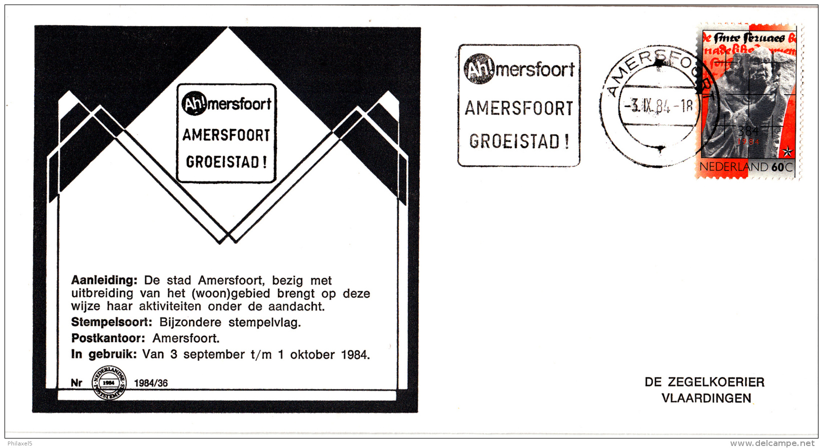 Nederland - Zegelkoerier Nederlandse Poststempels - Amersfoort Groeistad - Nr. 1984/36 - Marcofilie - EMA (Print Machine)