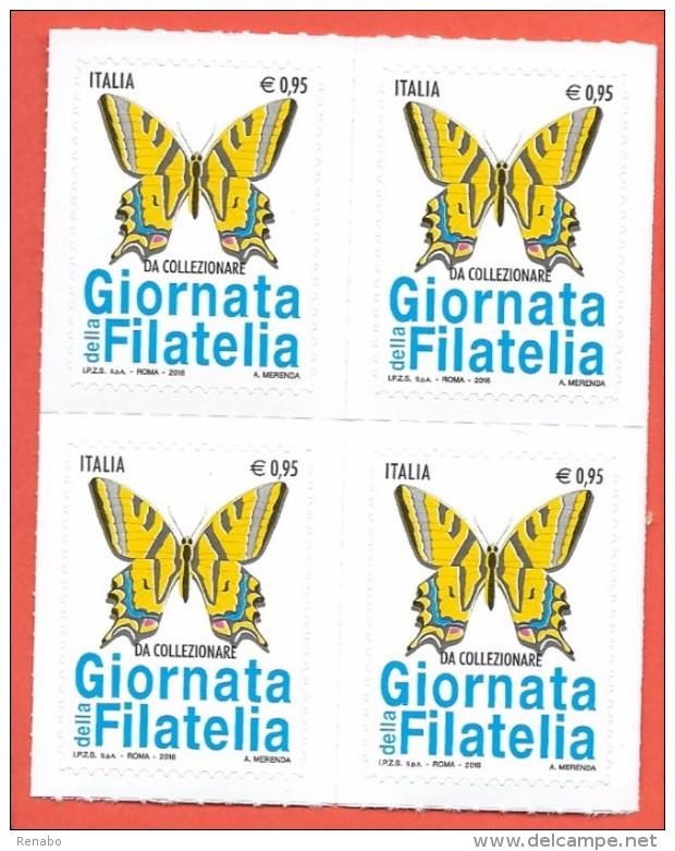 Italia, Italy, Italie, Italien 2016; Farfalla, Butterfly, Papillon Macaon . Quartina Nuova. - Papillons