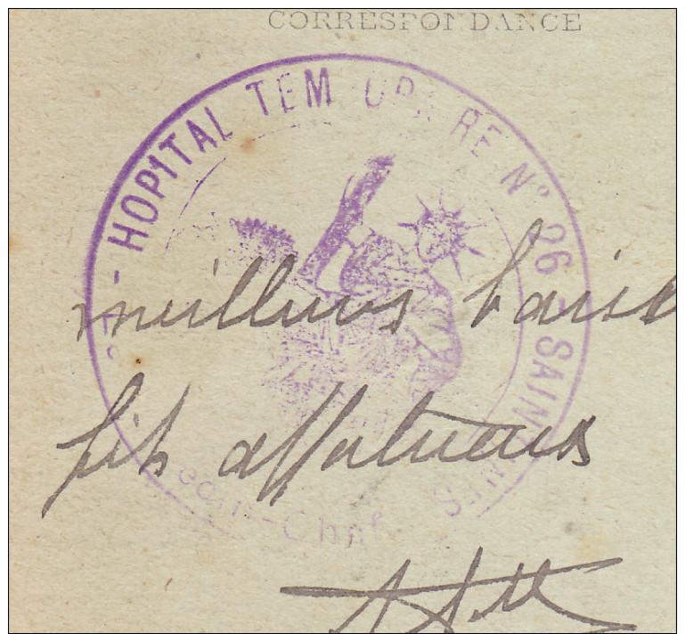 60 Saintines - Carte De 1917. Cachet Violet Hopital Temporaire N°26. Saintines Le Médecin Chef. Tb état. - Guerre De 1914-18