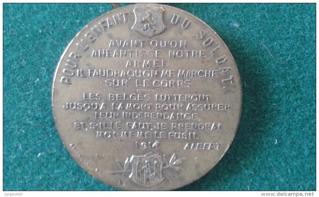 1914, Pour L'enfant Du Soldat, 10 Gram (med352) - Souvenir-Medaille (elongated Coins)