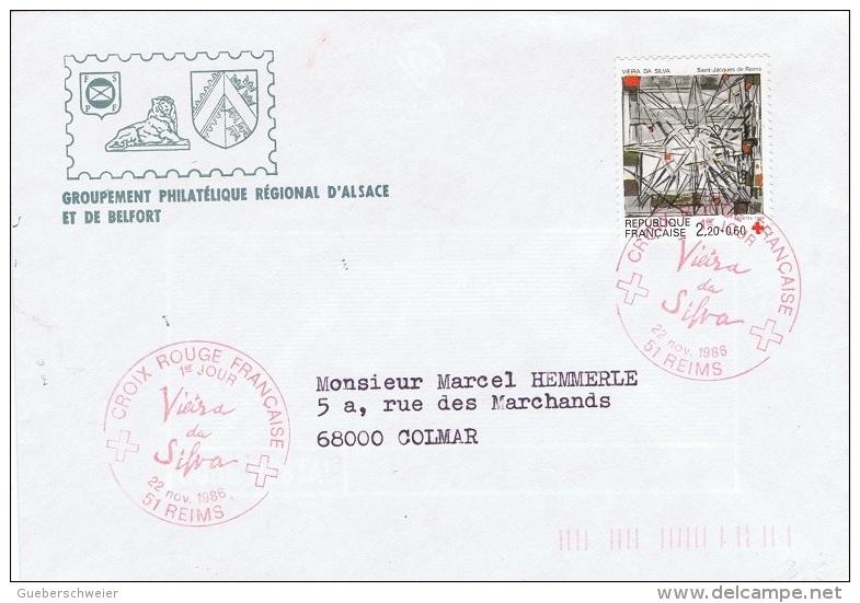 VIT-L20 - FRANCE Obl. 1er Jour Du Timbre Croix-Rouge 1986 Thème Vitrail Sur Lettre Pour Colmar - Vetri & Vetrate