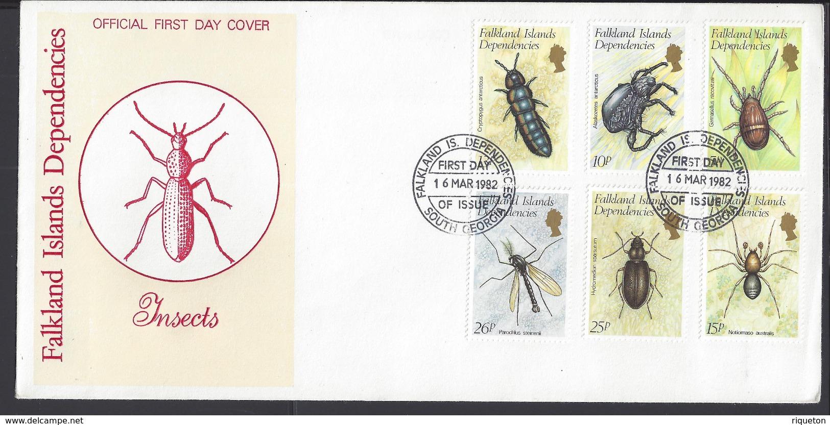 FALKLAND-DEPENDANCES -  Série Faune - Insectes N° 105 à 110 Sur Enveloppe 1er Jour - Cachet Du 16 Mars 1982 - TB - - Falklandeilanden