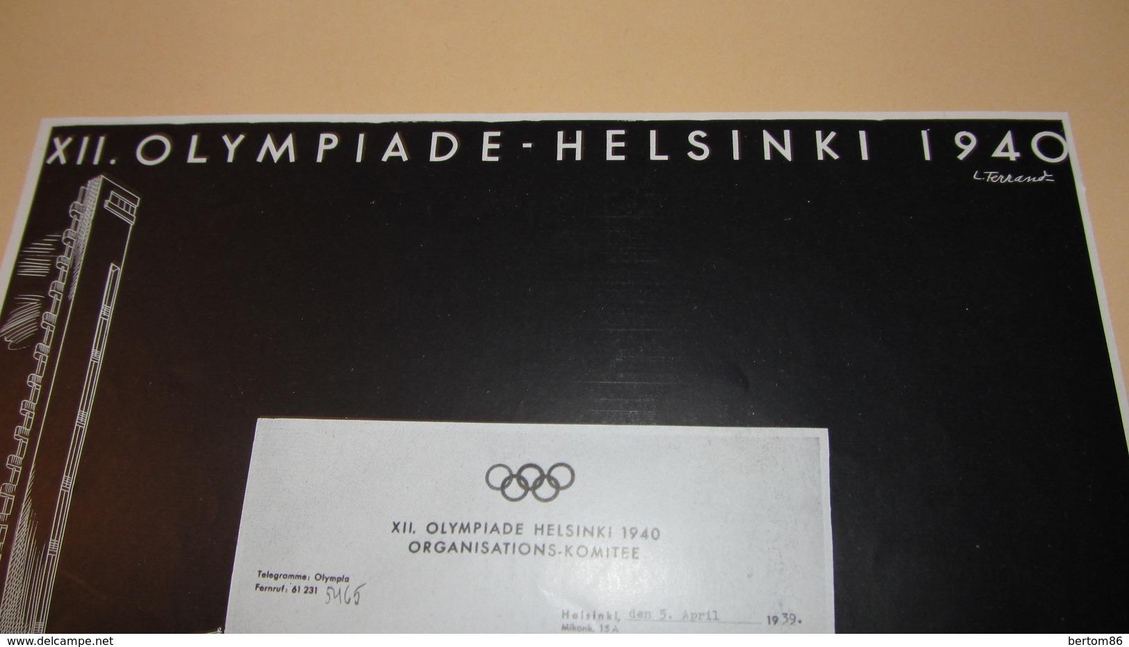 MONTRES - CHRONOMETRES LONGINES - XII. OLYMPIADE - HELSINKI 1940 -  PUBLICITE DE 1939 - Werbung