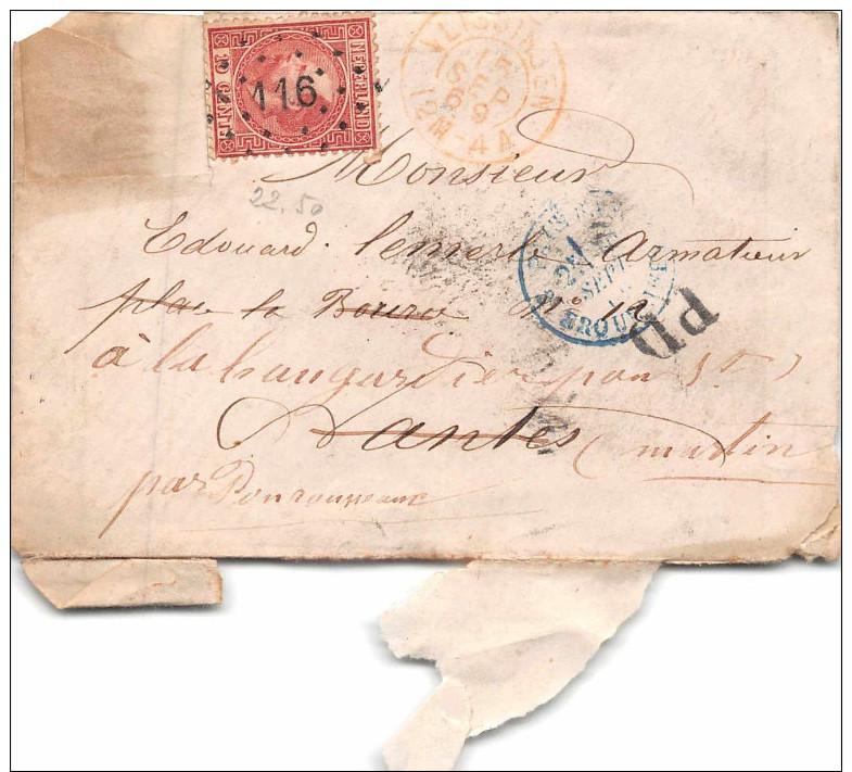 PAYS BAS  - 1869 -Timbre  10 C NEDERLAND  - Cachet  116  + Cacchet Entrée ERQUELINES + P.D - Postal History