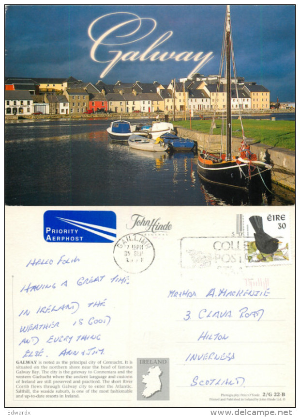Galway City, Ireland Postcard Posted 1999 Stamp - Galway