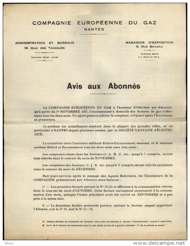 ELECTRICITE - GAZ - LETTRE De La Compagnie Européenne Du GAZ - NANTES - Vieux Papiers