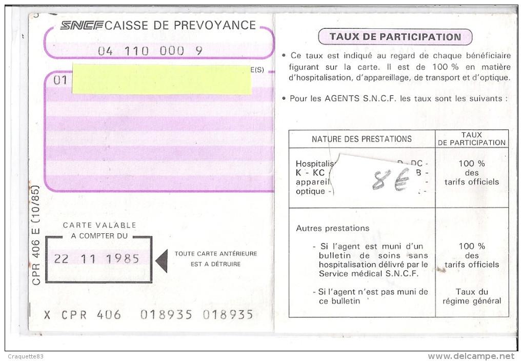 CARTE D'OUVERTURE DES DROITS AUX PRESTATIONS DE LA CAISSE  S.N.C.F.  1985 MARSEILLE - Mapas