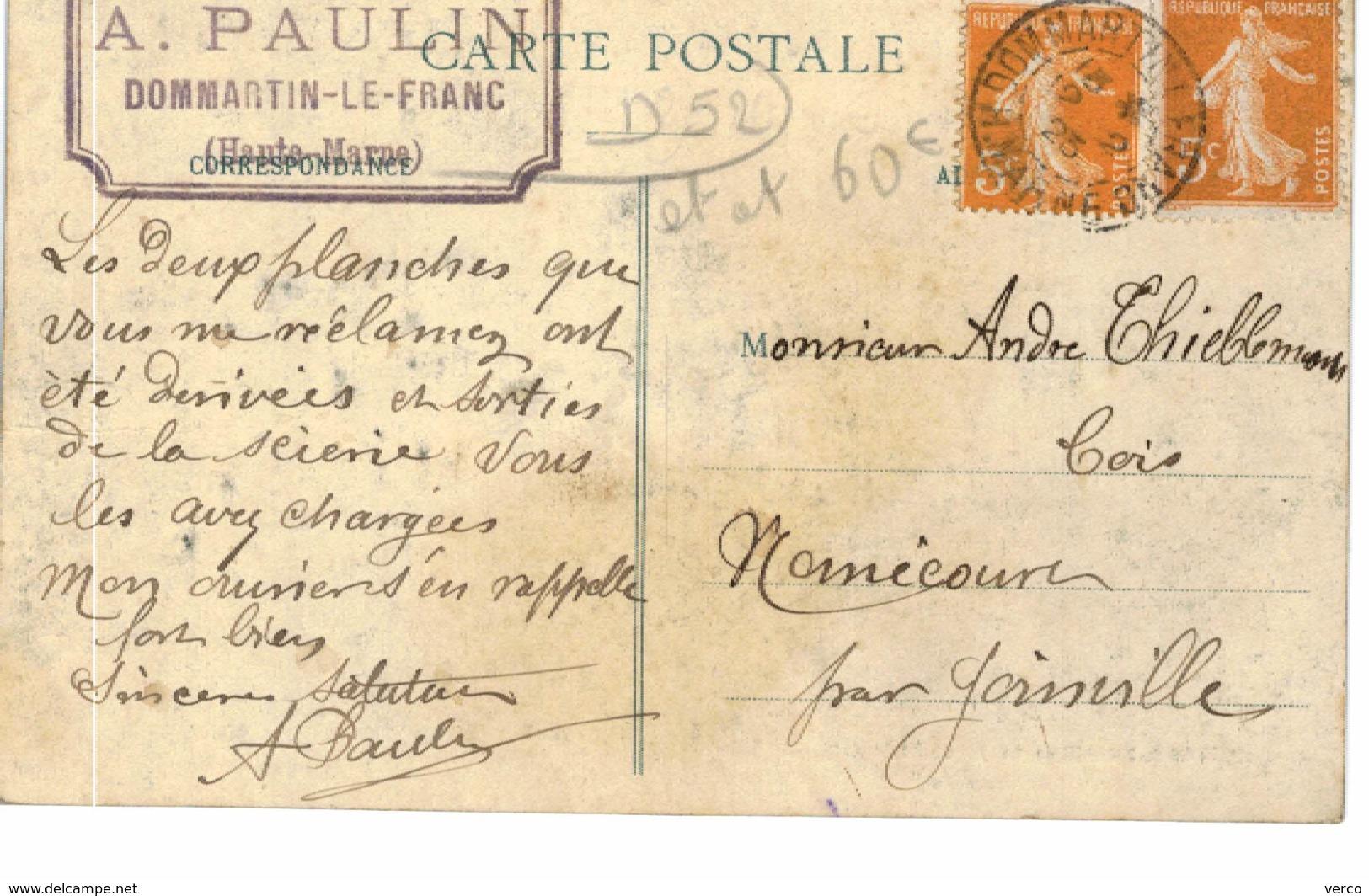 """Carte Postale Ancienne De DOMMARTIN LE FRANC Et VILLE En BLAISOIS-Ecole De Tir """"La Fraternelle"""" - France"""