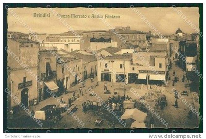 Brindisi Città Piazza Mercato Antica Fontana Postcard Cartolina KF3391 - Brindisi