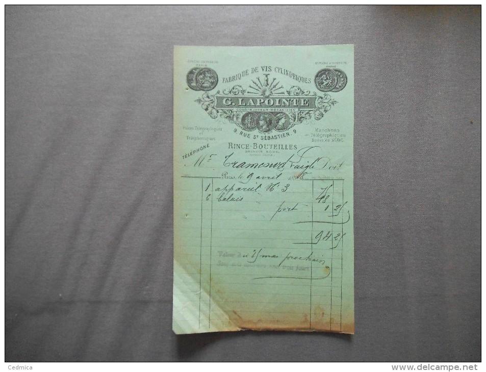 PARIS G. LAPOINTE CONSTRUCTEUR MECANICIEN RINCE-BOUTEILLES 9 RUE ST SEBASTIEN FACTURE DU 9 AVRIL 1898 - 1800 – 1899