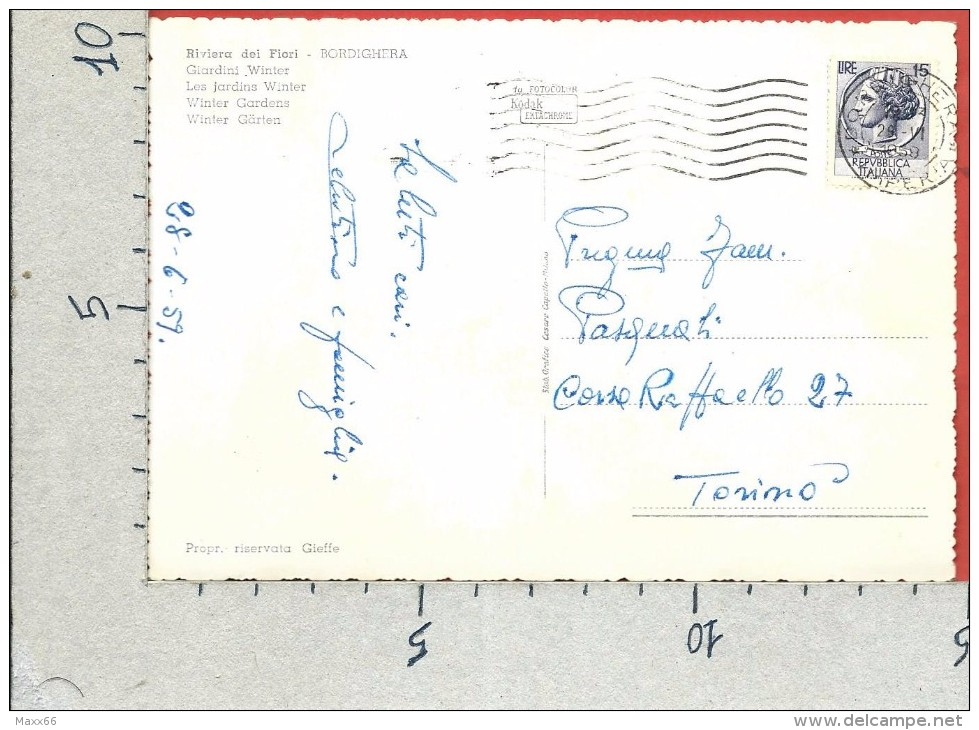 CARTOLINA VG ITALIA - BORDIGHERA (IM) - Giardini Winter - 10 X 15 - ANN. 1959 - Imperia
