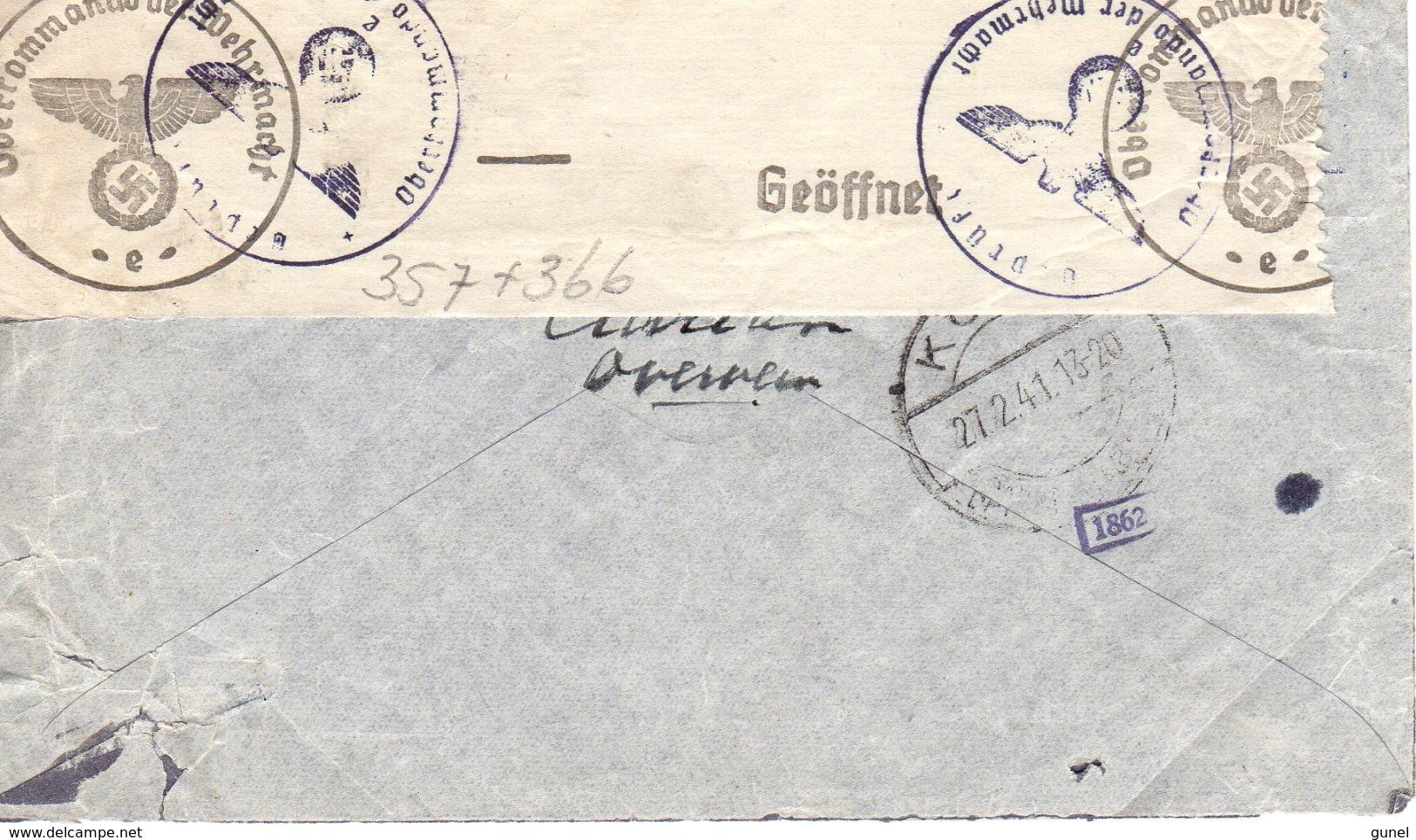 1941 Geopende, Geprüfte Luchtpostbrief Van Overveen Via Köln Naar  New York City Met NVPH 357 En 366 - Periode 1891-1948 (Wilhelmina)