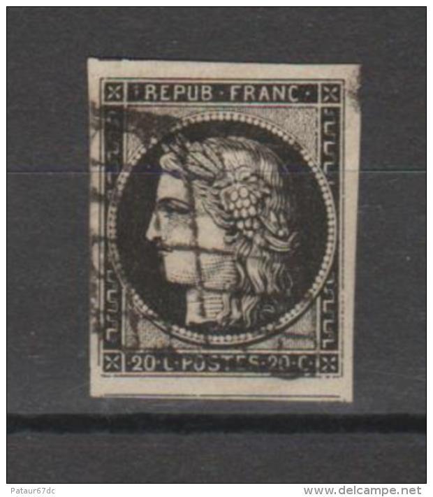 FRANCE / 1849 - 1850 / Y&T N° 3 : Cérès 20c Noir -  Choisi - Oblitération Grille - 1849-1850 Ceres