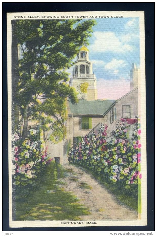 Cpa Etats Unis Nantucket  Massachusetts -- Stone Alley , Showing South Tower And Town Clock  JIP45 - Nantucket