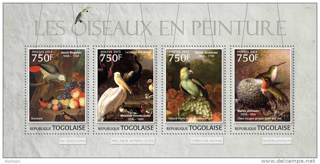 TOGO 2013 - Birds In Painting, Pelican - YT 3096-9; CV = 18 € - Pelikanen