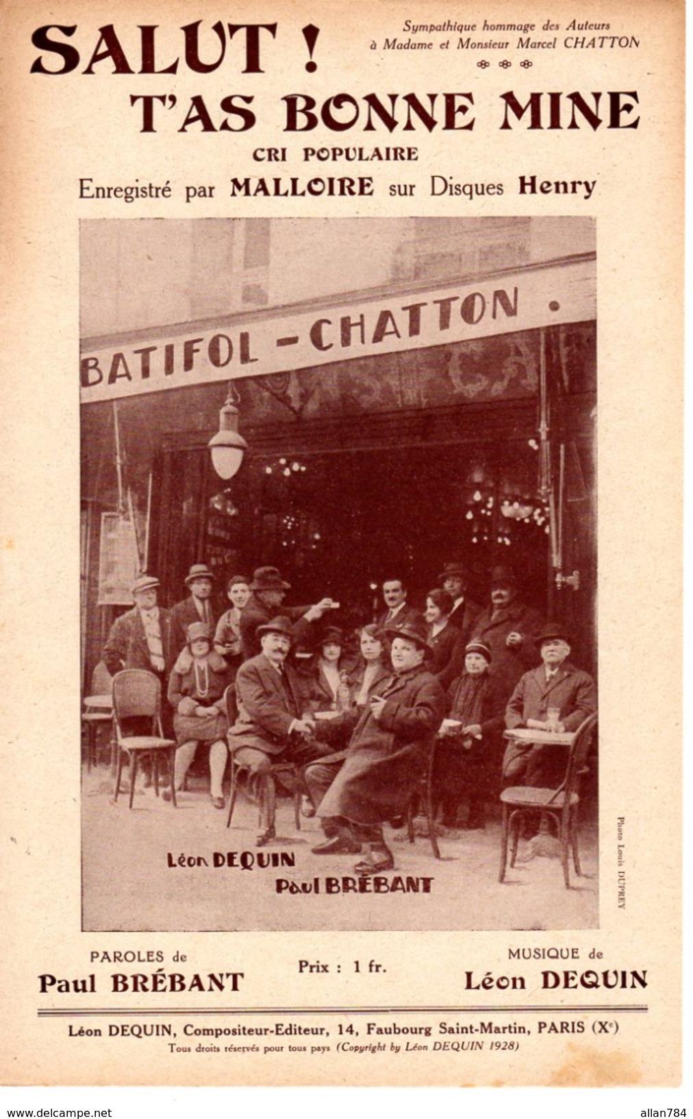 RARE - 1928 - PARIS 3è - RUE DU VERTBOIS - PARTITION ILLUSTREE PAR CAFE BATIFOL CHATTON - VOIR DESCRIPTION - EXC ETAT - - Autres