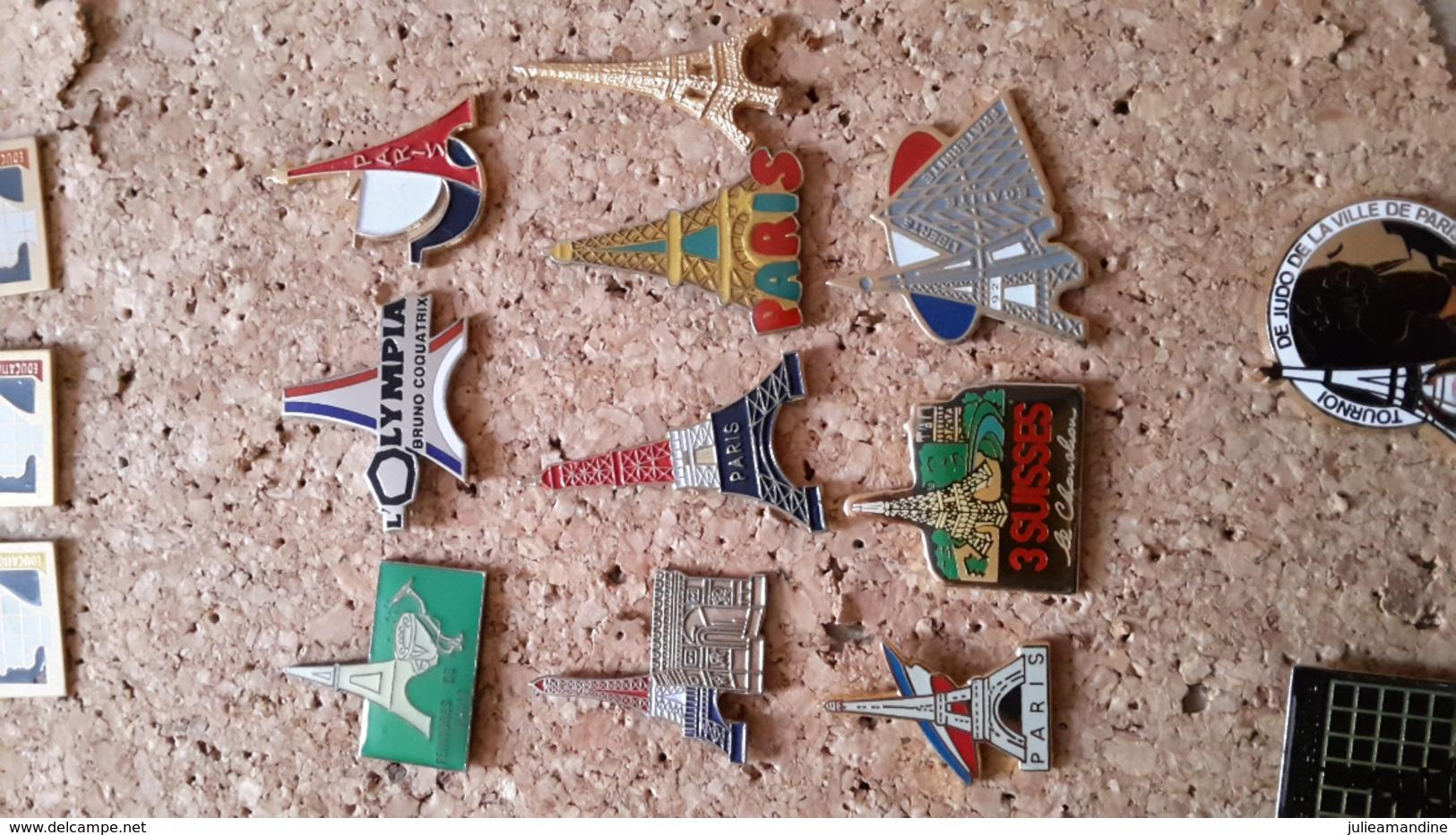 10  Pins Tour Eiffel  Pyramide Trois Suisse Olympia 100 Ans - Pin's & Anstecknadeln
