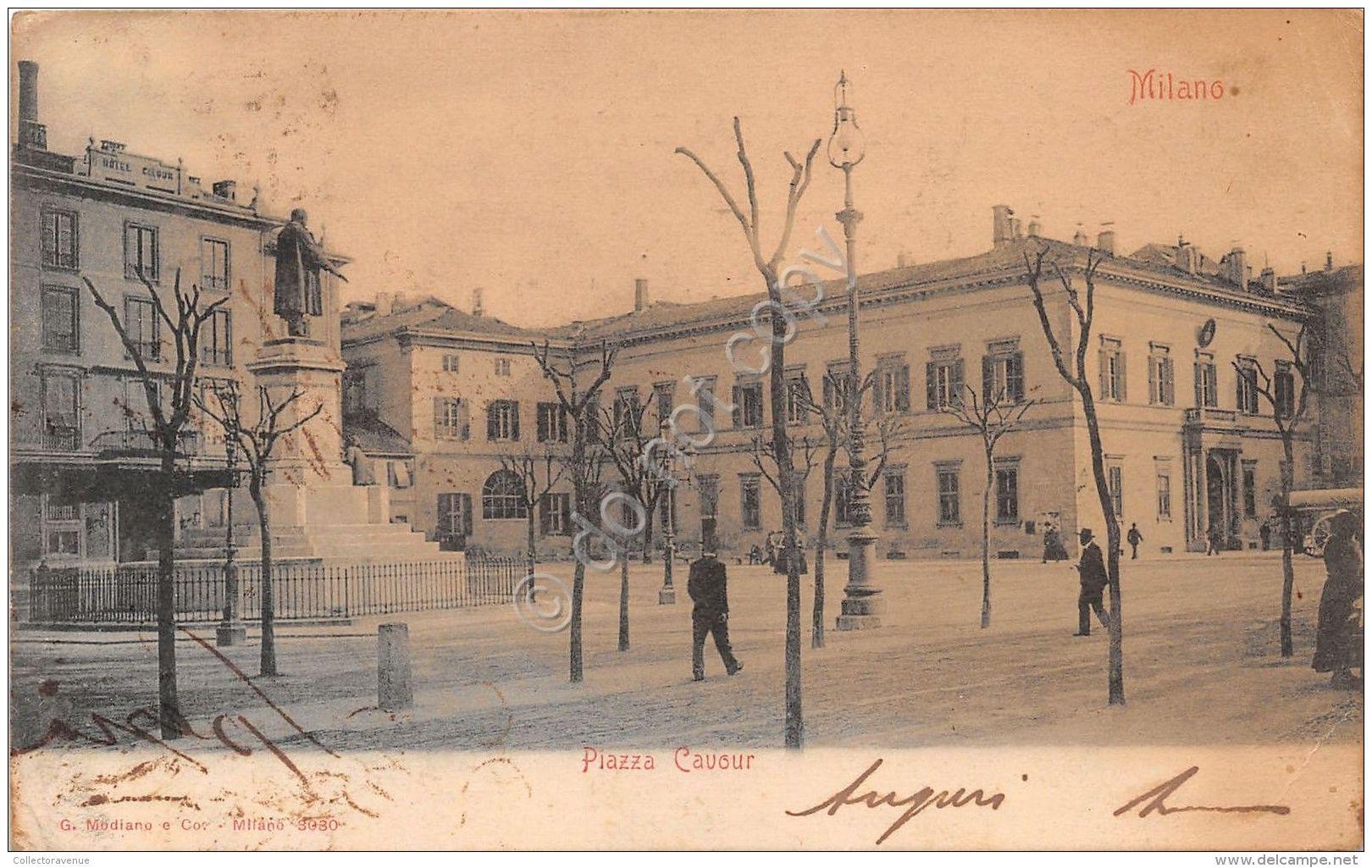 Cartolina - Postcard - Milano - Piazza Cavour - Animata - Italia