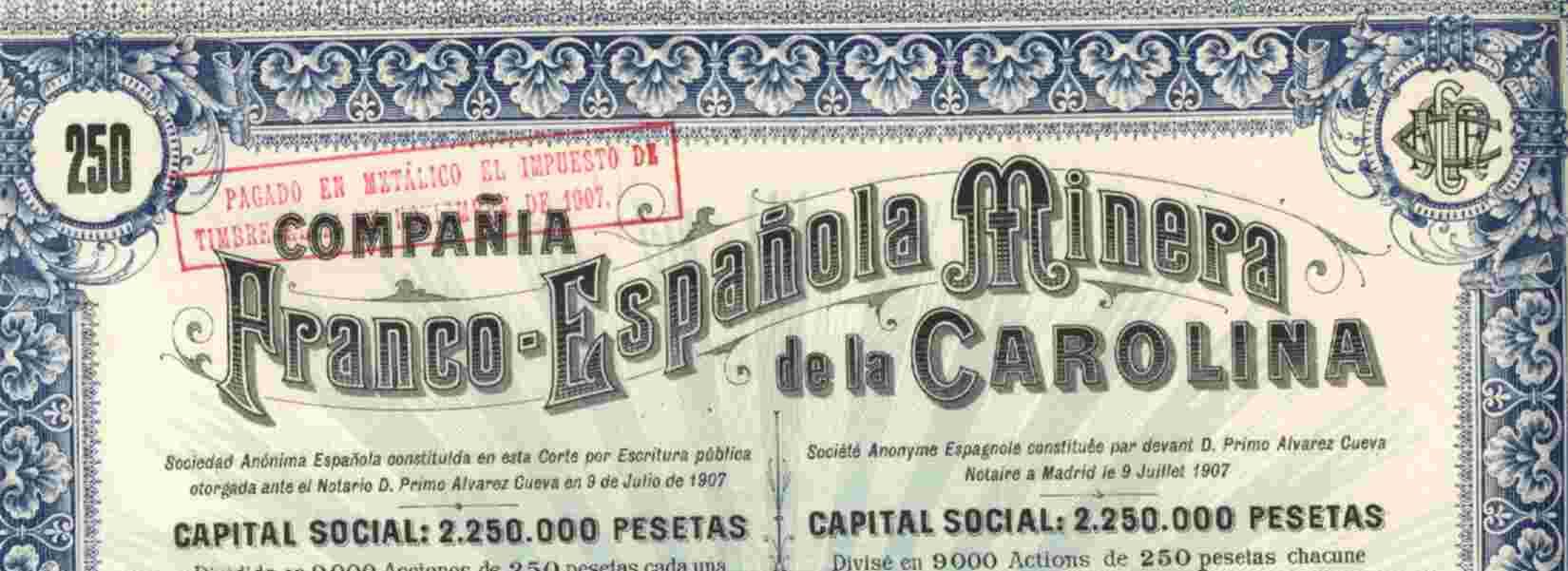 RARE: COMPANIA FRANCO ESPANOLA MINERA DE LA CAROLINA - Mineral