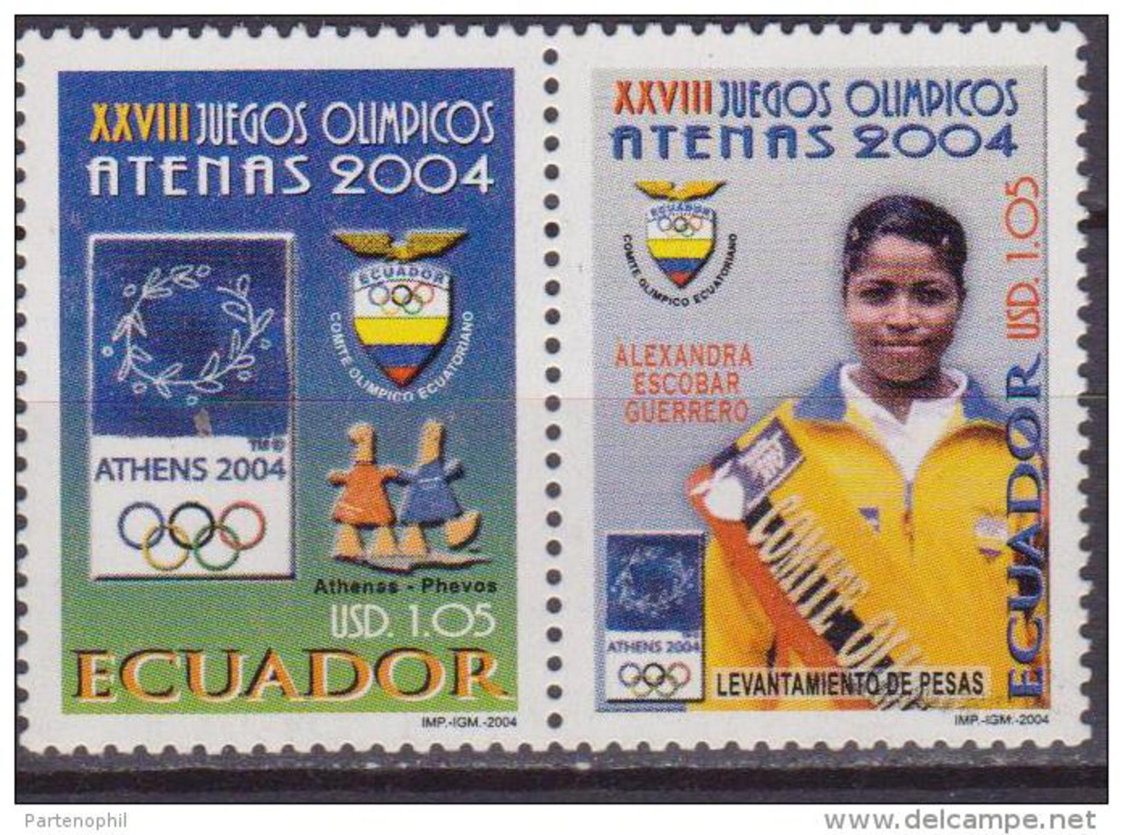 Ecuador 2004 OLIMPIC GAME ATENE  MNH 2 V. - Sommer 2004: Athen