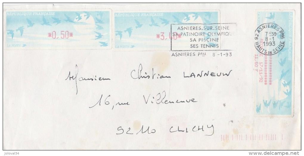 Lettre Asnières  8/1/1993 Avec Vignette ( 3,40 Et 0,50 ) Et Reçu ( 11,60 ) Distributeur LISA Pour Clichy - France