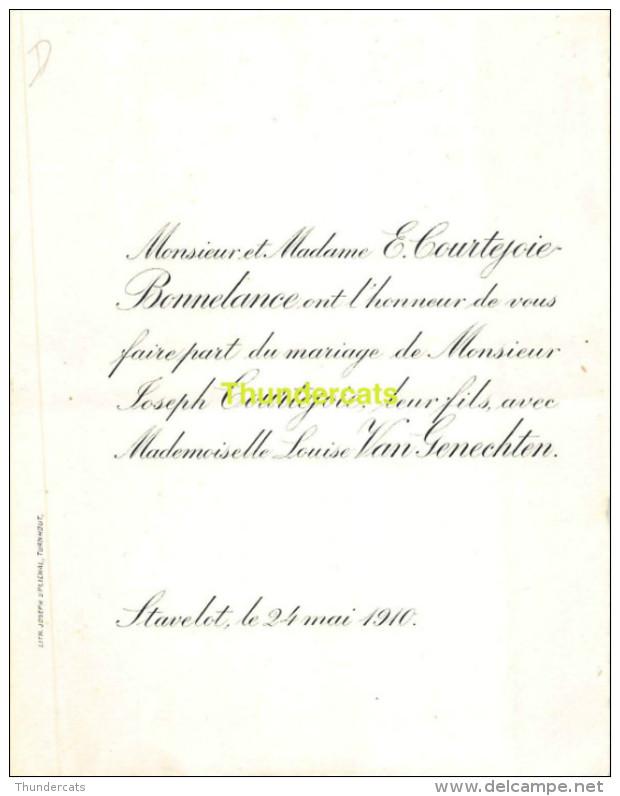 VAN GENECHTEN LOUISE JOSEPH COURTEJOIE BONNELANCE STAVELOT 1910 - Mariage