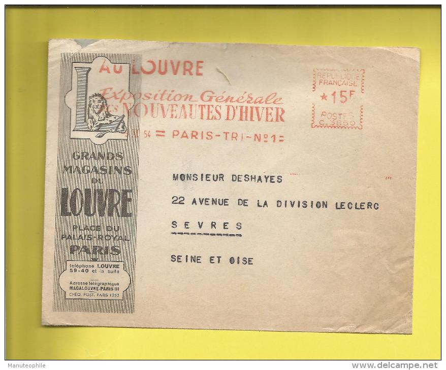 Enveloppe Ou Lettre Publicitaire Commerciale De PARIS Grands Magasins Du LOUVRE  Machine Affranchir  C.3850 09 11 54 - Marcophilie (Lettres)