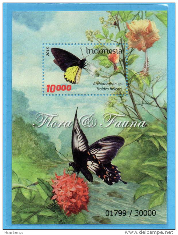 INDONESIA 2016 FLORA FAUNA BUTTERFLY FLOWERS SS SOUVENIR SHEET STAMPS MNH - Indonésie