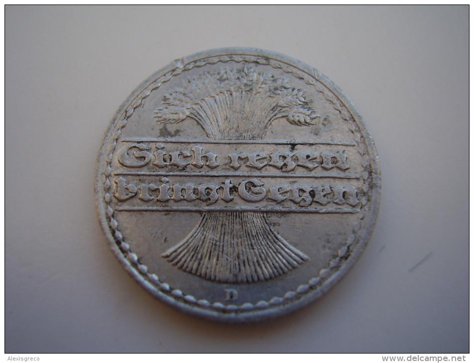 GERMANY 1921 FIFTY  PFENNIG USED COIN ALUMINIUM Mintmark D.(Ref:HG18) - 50 Rentenpfennig & 50 Reichspfennig