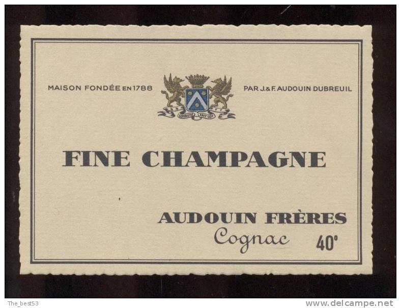 Etiquette De   Fine  Champagne  -  Audouin  à  Saint Jean D´Angély  (17)  -  11.8 X 8.5 Cm - Labels