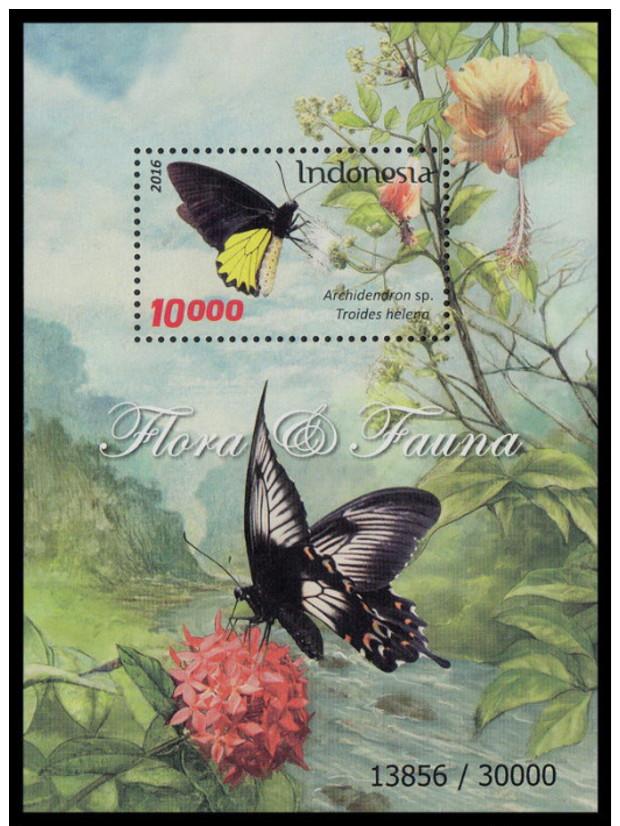 Indonesia 2016 Flora & Fauna Mnh SS Butterflies - Indonésie