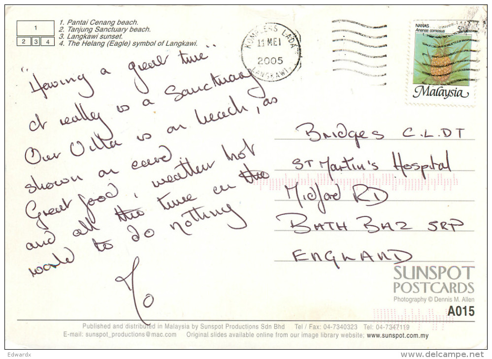 Langkawi, Malaysia Postcard Posted 2005 Stamp - Malaysia