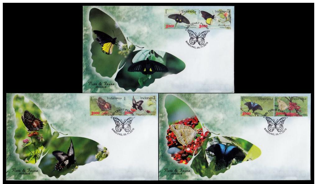 Indonesia 2016 Flora & Fauna, FDC(3) Butterflies - - Papillons