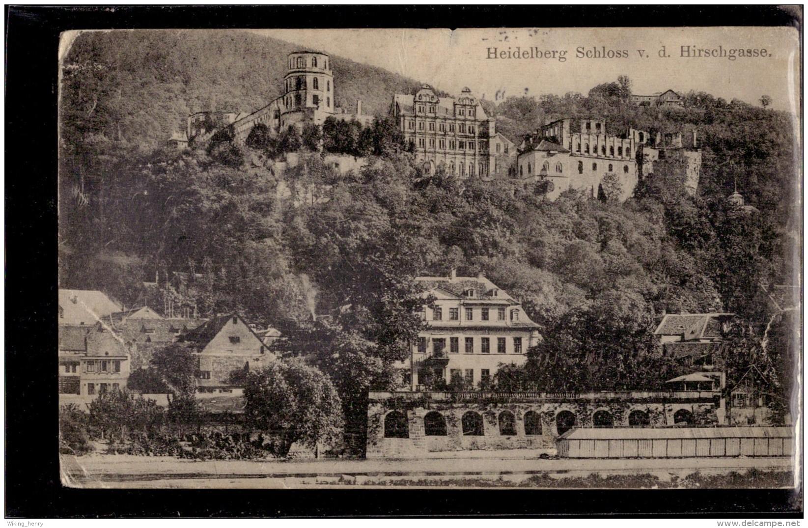 Heidelberg - S/w Schloß Von Der Hirschgasse 4 - Heidelberg